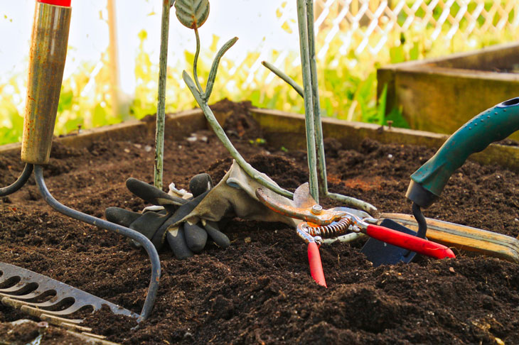 how to prep soil for a vegetable garden - hand tools